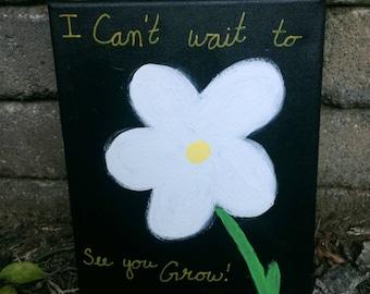 "Sorority Daisy Flower 10x8"" Canvas"