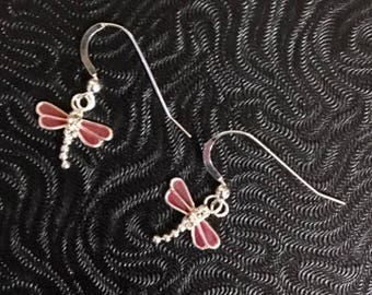Sterling Silver Dragonfly with Rhinestones Earrings