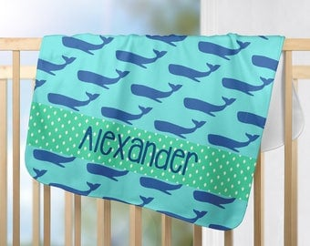Nautical baby gift etsy personalized baby blanket with whales nautical baby blanket custom baby boy blanket preppy negle Images