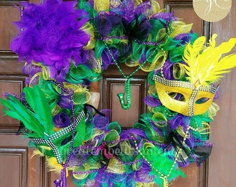 Mardi Gras Wreath, Mardi Gras Deco Mesh Wreath, Mardi Gras Door Decor