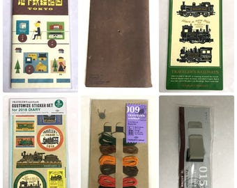 Used Midori Traveler's Notebook Leather Cover Regular size Brown ,Refill ,Repair kit ,2018 Stickers & Plastic sheet,Pen Holder from Japan