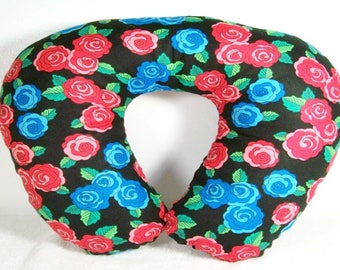 Blue and Red Floral Print Travel Pillow, Neck Pillow, Neck Support, Neck Cushion, Travel Cushion, Travel Support, Blue Flowers, Red Flowers