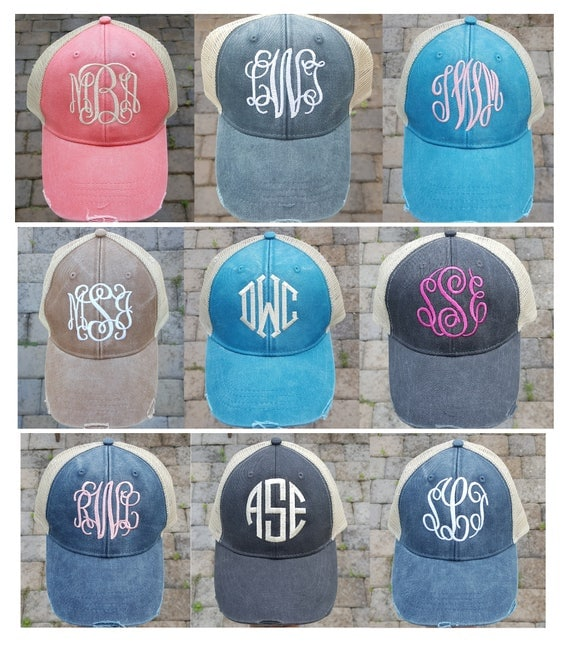 ladies monogrammed baseball caps seersucker cap monogram vintage trucker hat distressed gifts women