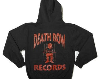 Death Row Records Midweight Pullover Hoodie Tupac Shakur 2Pac | Front and Back Print