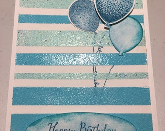 Embossed Striped Birthday Card with 3D Balloon