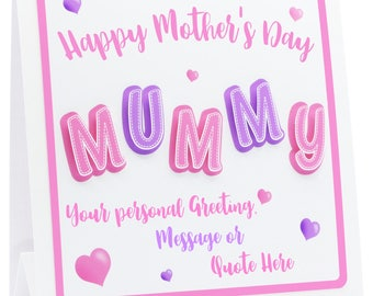 MUM CARD 3D Mother's Day. 1st Mothers Day, Mum Birthday Card, 3D MUMMY with Choice of Personalisation, Handmade Mummy Card.
