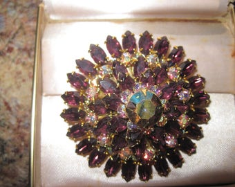 Primary purple amethyst  color pin brooch Saks Fifth Avenue original box