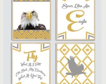 Eagle Wall Art, Printable Nursery set, babyroom Prinst, Wall Art for a Nursery , Eagle Poster,Sore Like An Eagle, What if I Fall?  Eagle Art