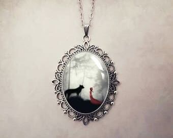 Red Riding Hood Necklace, Fairytale Necklace, Red Riding Hood Jewellery, Red Pendant, Unique Jewelry, Glass Pendant, Fairytale Lovers Gift