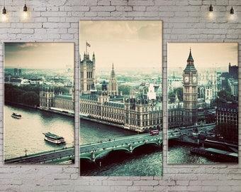 Art Print on Canvas, Large Print Wall Art , Skyline , River, Bridge, Canvas Art, 3 piece Wall  Art, Living Room Decor, Extra Large Art