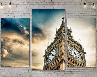 Large Wall Art, Urban Landscape, London Big Ben, 3 piece, Art Print on Canvas, Extra Large Art, Canvas Art, Interior Art, Living Room Art