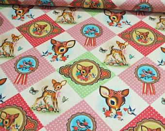 Cotton Poplin digital pressure of Diamond deers multicolor fabric sold by the meter 0, 50 m