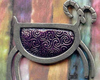 Purple petroglyph pewter sheep brooch