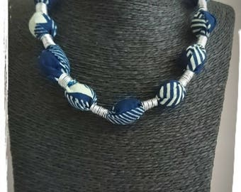 Blue wax cloth necklace