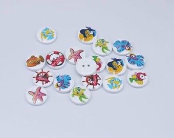 20 x Sea Creature Buttons
