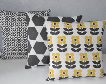 TRIO of pillows - 30X30cm - matching different fabrics - yellow, gray and white
