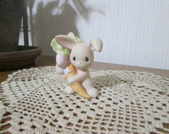 Enesco Jonathan And David Hand Painted Porcelain Bunny Rabbit with Carrot, 1980's Precious Moments Figurine, Easter Decor