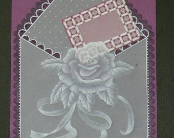 "Card paper lace Pergamano ""Mail flowers"""