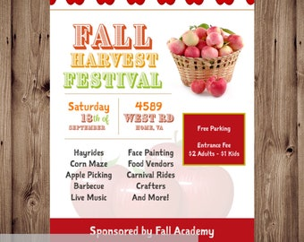 Apple Fall Festival Flyer, Back to School Bash, Vendor Event Show, Direct Sales, Thanksgiving Auction, Promotional Poster, 8.5x11 Digital
