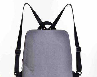 Linen backpack with adjustable leather straps