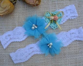 Sky Blue Garter, Bridal Garter Set, Wedding Garter Set, Something Blue Garter, Rosette Garter, Wedding Clothing, Keep Garter, Toss Garter