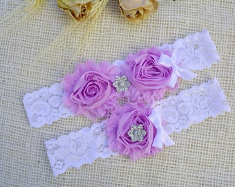Flower Garter Lilac, Purple Bridal Set, Toss Garter, Crystal Bridal Gift, Lavender Garter Set, Wedding, Violet Garter Set, Flower Garter Set