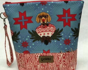 SALE Holiday Homies Project Bag - Tula Pink - knitting/crochet/zipper pouch