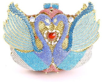 Couture Crystal Swan Clutch Bag