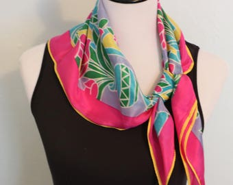 Vintage Silk Scarf, Colorful Scarf, Floral Scarf, Square Scarf, Head Scarf Chemo,Head Scarf Hair Wrap, Pink Scarf, Head Covering, Baar Beard