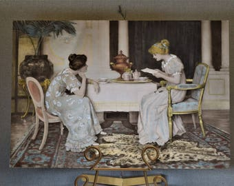 Vintage Print Picture Two Ladies at a Table