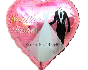 aluminum balloons heart-shaped Valentine's Day wedding bride and groom wedding party balloons