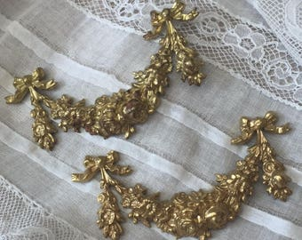 Exquisite Pair Vtg French ROSE GARLANDS and BOWS Petit Pediment Ornament Gilded Brass So Lovely !!!