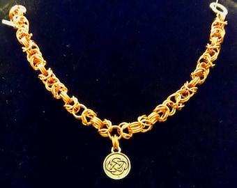 triple bronze byzantine bracelet of the Celtic charm