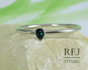 Pear Cut Synthetic Tourmaline Silver Ring, Stacking October Birthstone Ring Teardrop Dark Green Stone 3x2 mm Tiny 925 Sterling Silver Ring
