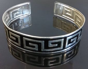 Vintage Hand Painted Choker - Greek Key Design