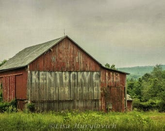 Kentucky Club Pip Tobacco, Red Barn, old barn, farm, farming, rustic, photograph, wall decor, home decor, picture