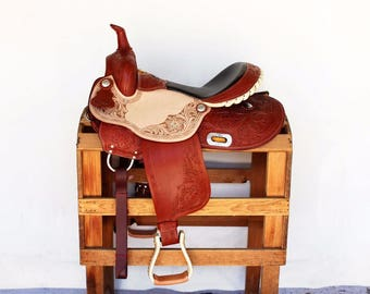 Rough Out Floral Tooled Handmade Western Horse Pleasure Trail leather Saddle Made To Order