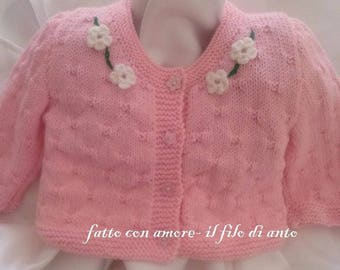 Sweater/cardigan/sweater baby pink wool