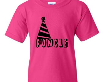 Free Shipping! Blue Tees Funcle Fun Uncle Christmas Birthday Father's Day Gift Match with Hats Jeans Shoes Unisex Youth Kids T-Shirt Tee Clo