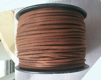 Brown Faux Suede Cord, Coffee Faux Suede Leather Cord, 3mm Necklace, Bracelet Cord Lace String Rope Flat Thread for Jewelry