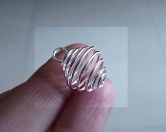Bead Cage, Pearl Cage Pendant, Silver Plated Wire Bead Cage, 15x18mm Spiral Bead Cage, Wire Pendant Holders, Necklace Connectors