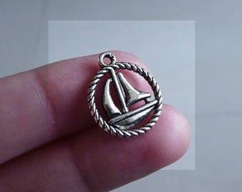 Boat Charm, Sail Boat Charm, Ship Charm, Charm for Bracelet, Nautical Charm, Silver Tone Ocean Charm, 2 Side Necklace Pendant, Sea Charm