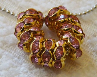 Pink Beads, Pink Spacer Beads, Rhinestone Beads, Gold Plated Beads, Pink Rhinestone Beads, Gold Beading Supplies