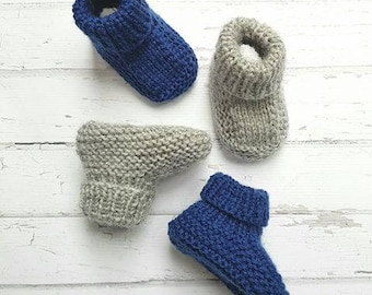 Stay on Booties - Hand Knitted - Newborn - Merino Wool - Made to Order