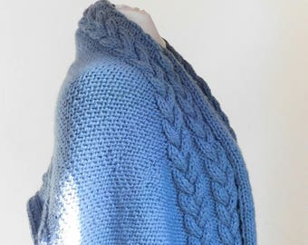 Gray, hand knitted, cabled, shawl