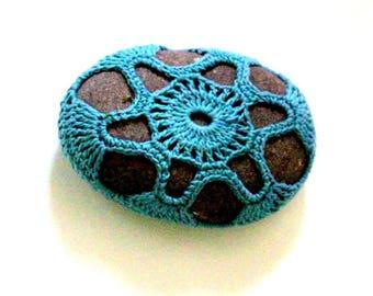 READY TO SHIP Crochet stone from Isle of Skye, crochet rock, crochet decor, paperweight
