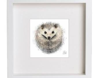 Framed hedgehog print // hedgehog print // hedgehog painting // hedgehog drawing // hedgehog gifts // pygmy hedgehog // hedgehog nursery
