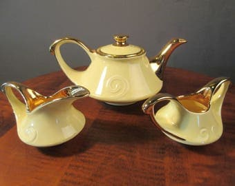 Yellow and gold teapot set, Pearl China Co.