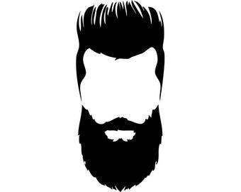 Hairstyle #27 Hairstylist Salon Barber Shop Haircut Hair Style Cut Beard Man Male Face Fashion Logo .SVG .EPS .PNG Vector Cricut Cut Cutting