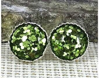 St Patrick's Day Earrings - Green Glitter Earrings - Green Jewelry - Stud Earrings - Green Earring - St Patricks Day Jewelry - Irish Earring